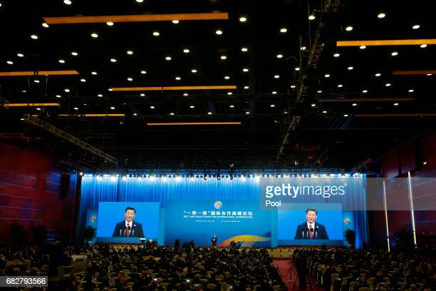 Chinese Chinese President Xi Jinping attends the opening ceremony of the Belt and Road Forum on May 14 2017 in Beijing China The Belt and Road Forum...