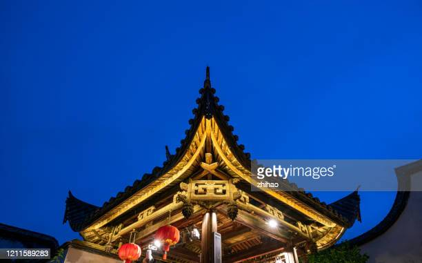 chinese classical architectural style of outstanding old stage building part of the night scene - fuzhou stock pictures, royalty-free photos & images