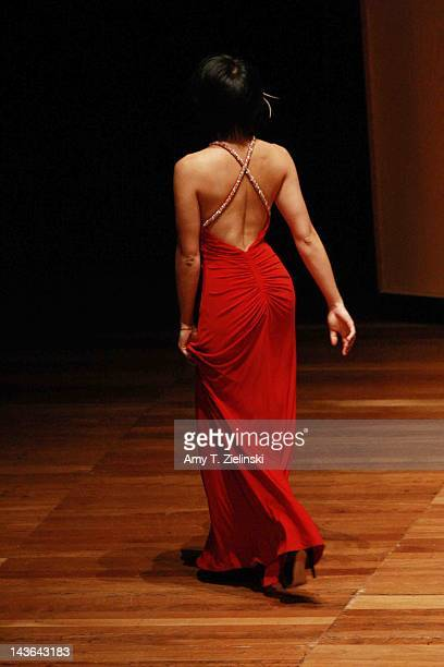 Chinese classical pianist Yuja Wang exits after performing on stage during her evening solo piano recital featuring works by composers Rachmaninov...