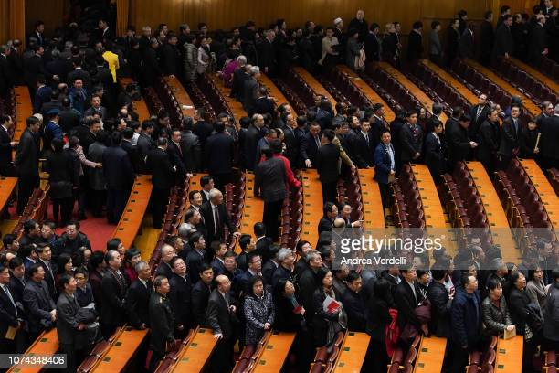 Chinese Communist Party delagates leave at the end of the 40th Anniversary of Reform and Opening Up at The Great Hall Of The People on December 18,...