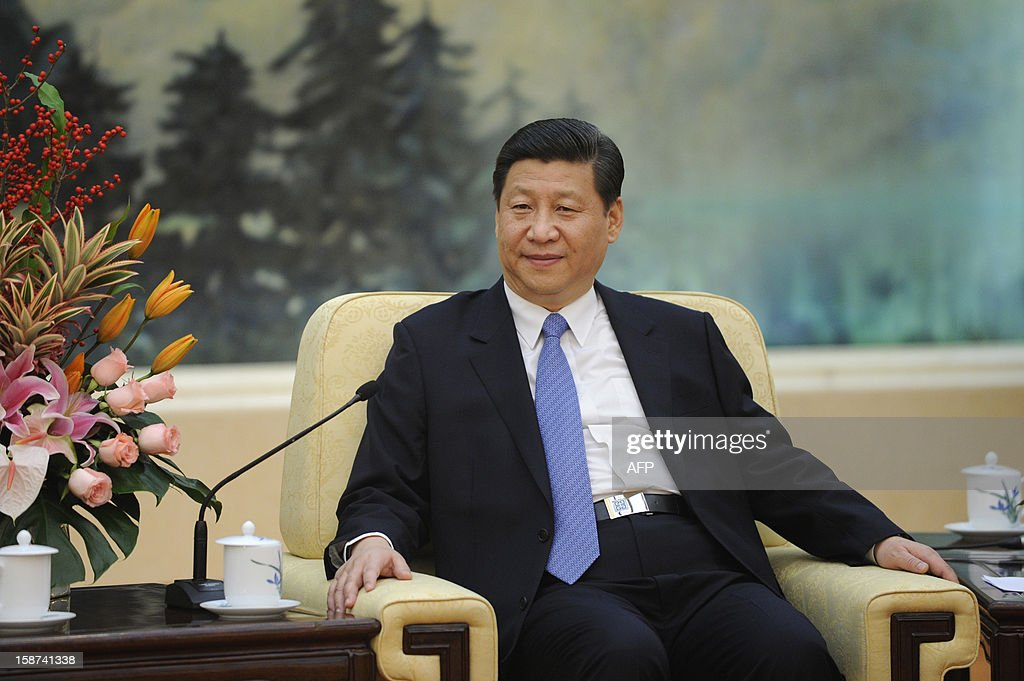 Chinese Communist Party General Secretary Xi Jinping listens as he meets with Vuk Jeremic (unseen), president of the 67th Session of the UN General Assembly, at the Great Hall of the People in Beijing on December 27, 2012. Jeremic is paying an official visit to China from December 26 to 28.