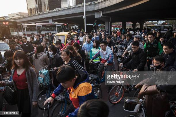 Chinese commuters many on ride share bicycles crowd the bicycle lane during rush hour on April 11 2017 in Beijing China The popularity of bike shares...
