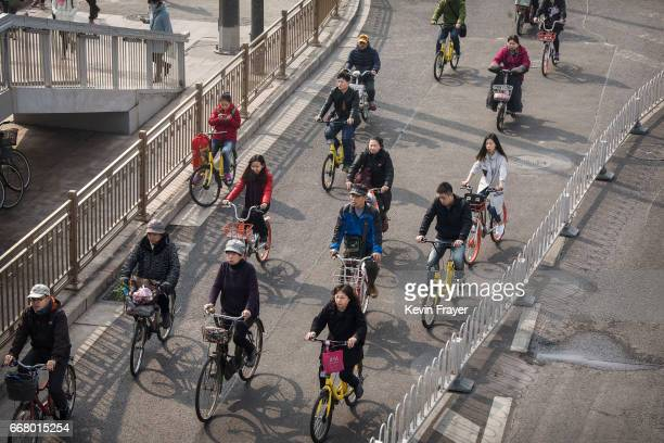 Chinese commuters ride bike shares and other modes of transport in the bicycle lane during rush hour on March 29 2017 in Beijing China The popularity...