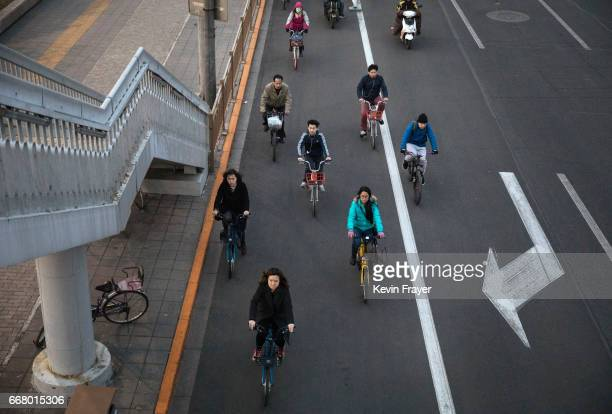 Chinese commuters ride bike shares in the bicycle lane during rush hour on March 28 2017 in Beijing China The popularity of bike shares has exploded...