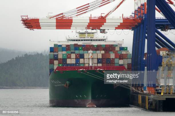 Chinese container ship loaded at Prince Rupert Harbor port British Columbia