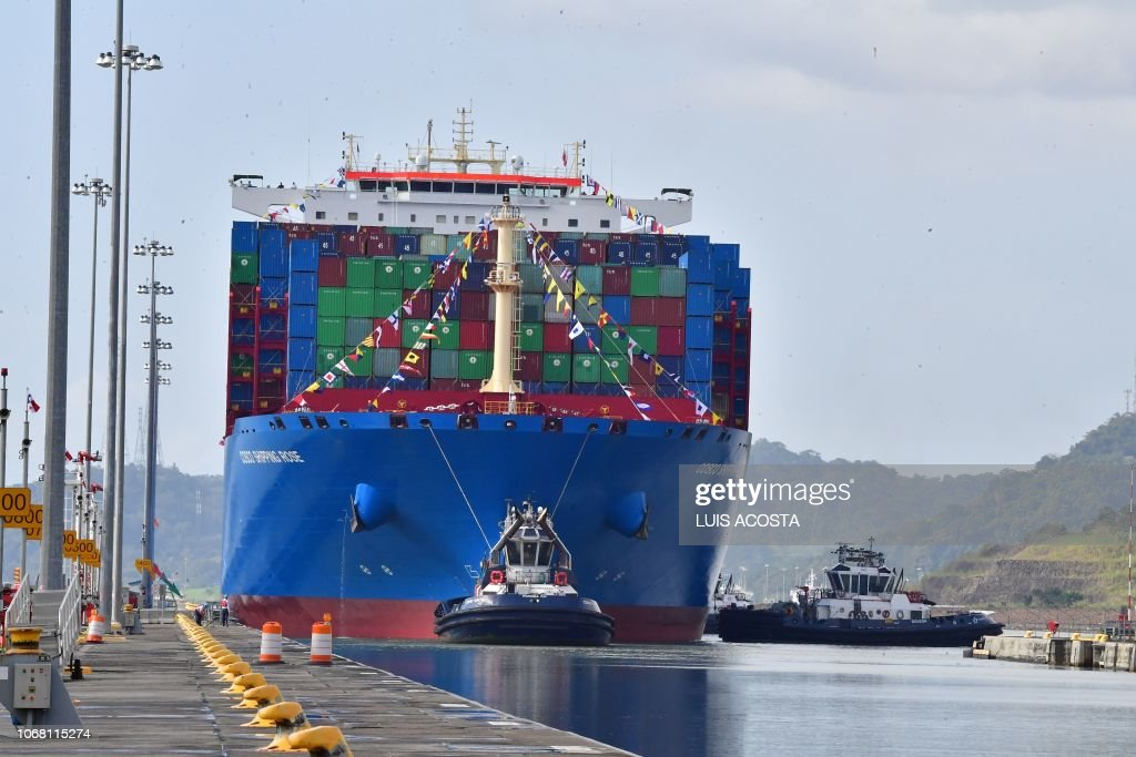 Chinese Cosco Shipping Rose container ship sails the newly
