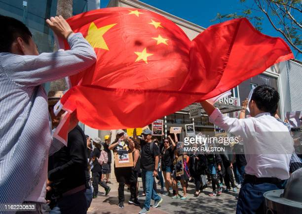 Chinese counterprotesters wave the Chinese flag as members of the US Hong Kong community protest against what they say is police brutality during the...