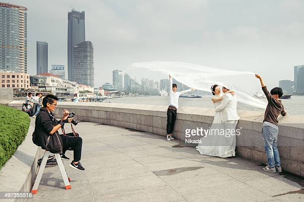 Chinese couple modeling for wedding picture, Shanghai
