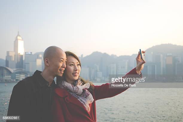 Chinese Couple Taking Selfportrait