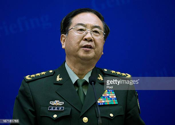 Chinese couterpart Gen Fang Fenghui talks press briefing with US Joint Chiefs Chairman Gen Martin Dempsey at the Bayi Building on April 22 2013 in...