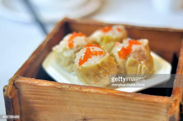 chinese crab roe pork dim sum - zhongshan stock-fotos und bilder