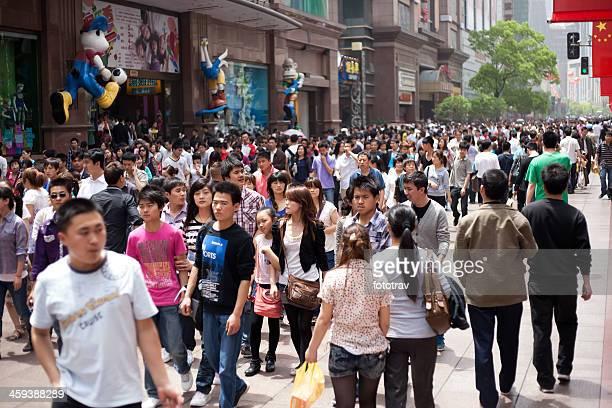 Chinese crowd, Shanghai, China
