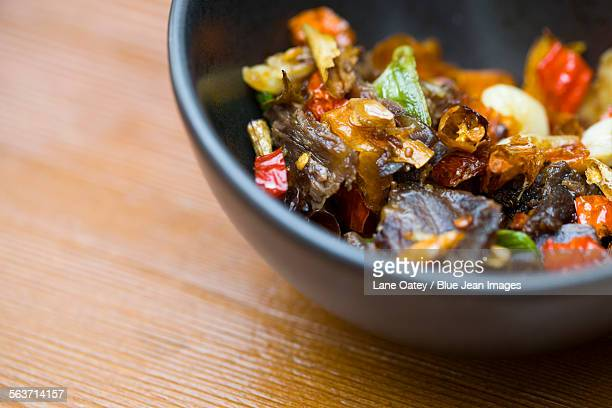 Chinese cuisine beef with chili pepper