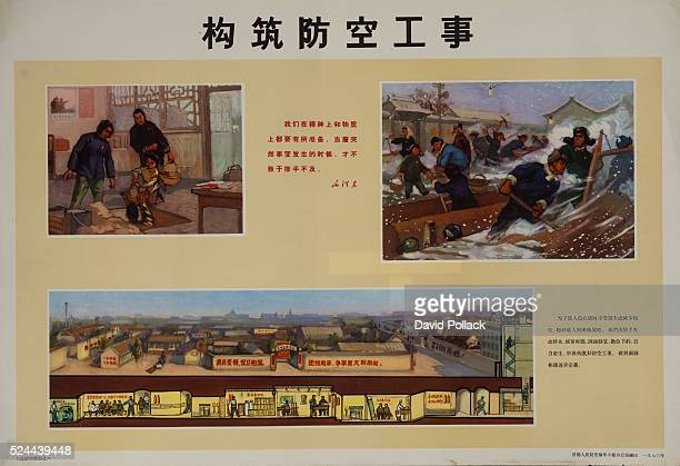 Chinese Cultural Revolution Poster living in underground bunkers with access to above ground rooftop observation positions