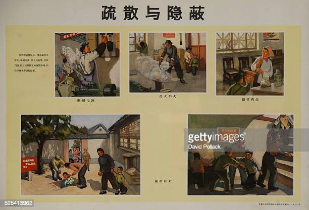 Chinese Cultural Revolution Poster showing step to take before entering shelter shutting power putting out open fires gathering ermergency supplies...
