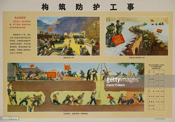 Chinese Cultural Revolution Poster showing trench warfare and the construction of underground shelters