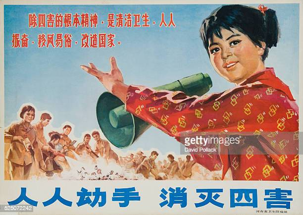 Chinese Cultural Revolution Poster The 4 Harms Mosquito Rat Flies and Bedbugs