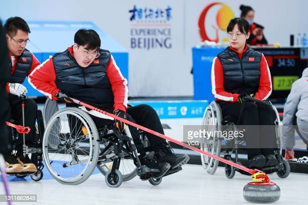 Chinese curlers compete in the wheelchair curling test event during the 10-day test program for the Olympic and Paralympic Winter Games Beijing 2022...