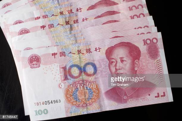 Chinese currency one hundred Yuan bills