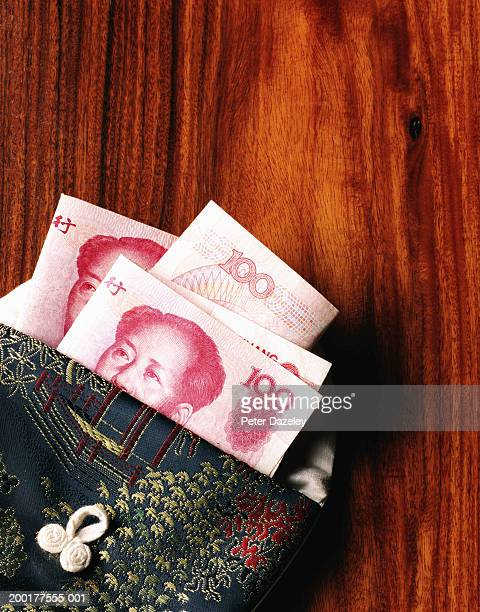 Chinese currency; open purse with Chinese banknotes