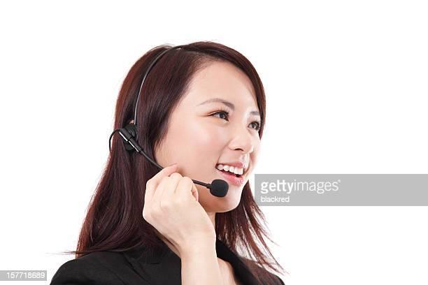 Chinese Customer Service Representative on White Background