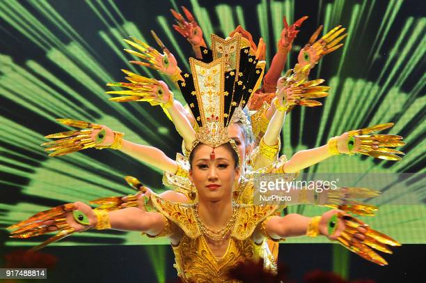 Chinese dancer perform the traditional Chinese Dances at the celebrates the Chinese New year and 2018 Happy Spring Festival in India on February...