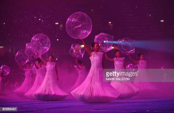 Chinese dancers perform at the National Stadium during the opening ceremony for the 2008 Beijing Paralympic Games in the Chinese capital on September...