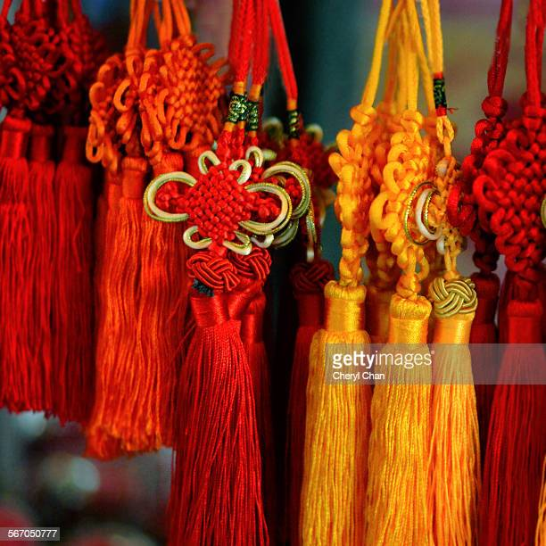 chinese decorative knots - chinese knotting stock pictures, royalty-free photos & images