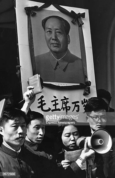 Chinese demonstrators at a 'Little Red Book' protest outside the London Embassy regarding Chairman Mao Tse Tung's book of quotations