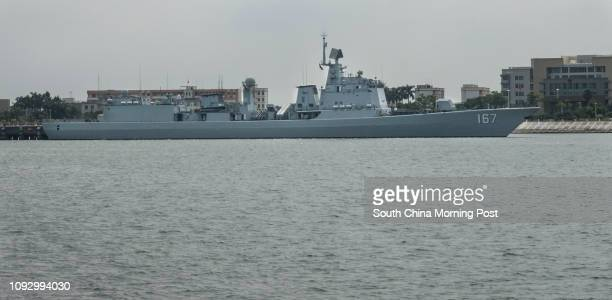Chinese destroyer Shenzhen moors in Zhanjiang naval base The ship has been deployed in the Gulf of Aden on antipiracy operations 31JUL17 SCMP / Chow...