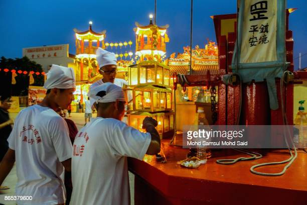 Chinese devotees are seen performing prayer during The Nine Emperor Gods Festival inside the temple on October 23 2017 in Klang Malaysia The Nine...