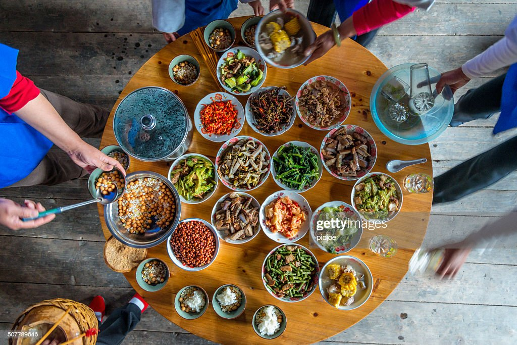 Chinese dinner at home, high angle view : Stock Photo