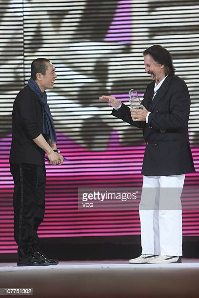 Chinese director Zhang Yimou delivers 'Lifetime Achievement Award' to German designer Luigi Colani during China Fashion Ceremony 2010 at Traders...