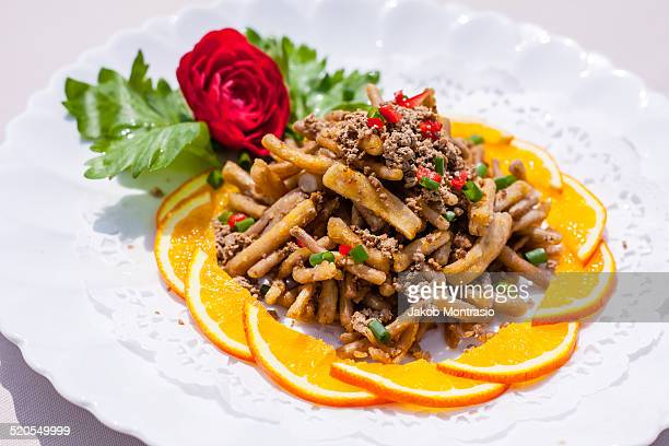 chinese dish with mushrooms - jakob montrasio stock pictures, royalty-free photos & images
