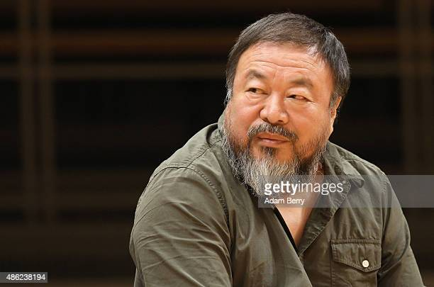 Chinese dissident artist Ai Weiwei attends a panel discussion at the Berlin International Literature Festival on September 2 2015 in Berlin Germany...