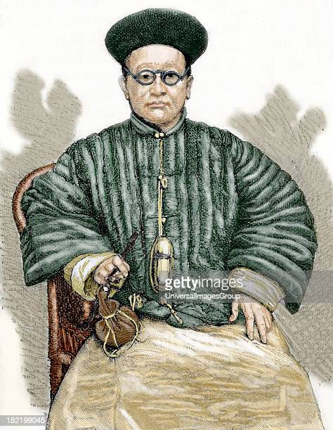 Chinese doctor 19th century engraving Colored