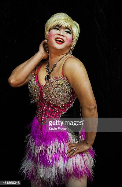 A Chinese drag queen who goes by the stage name of Mianbao poses at the Chunai 98 nightclub on January 10 2015 in Nanning Guangxi Province southern...