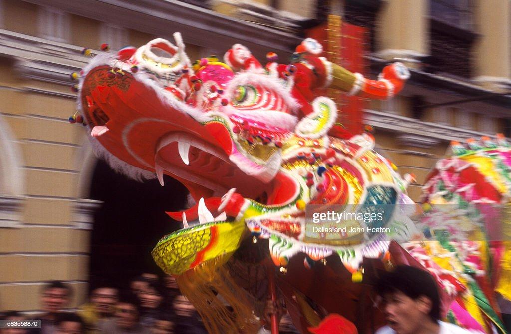 Chinese Dragon dancing on New Year's Eve, Macau, China : Stock Photo