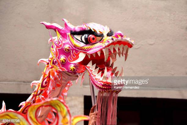 Chinese Dragon Head Held Up on a Pole