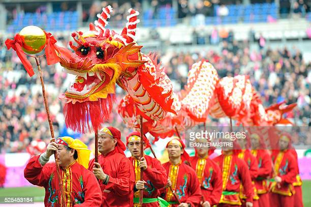 Chinese Dragon show before the French Top 14 rugby match Stade Francais vs Stade Toulousain at the Stade de France in SaintDenis France on March 6th...