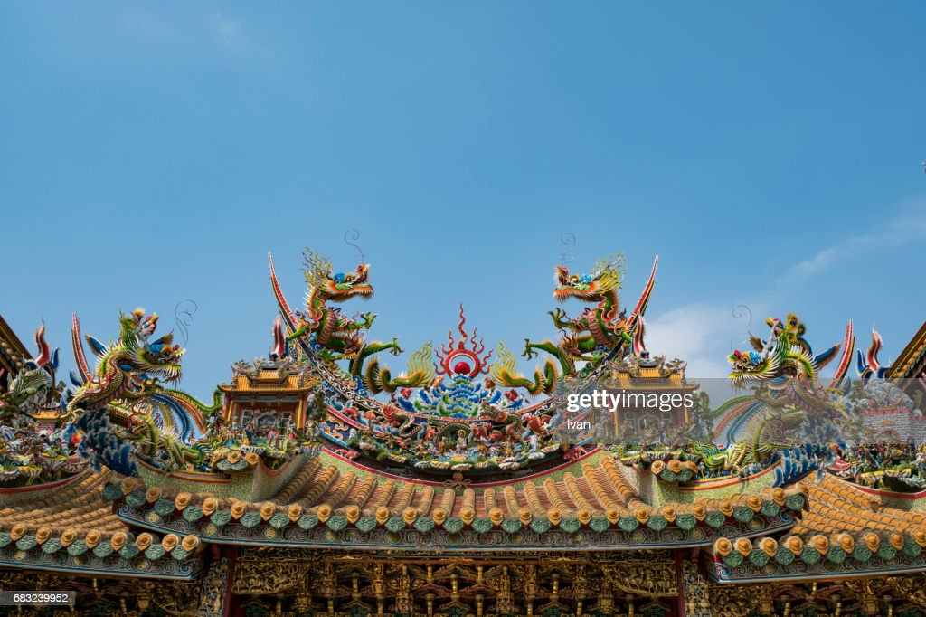 chinese dragon status decorated decoration on roof of traditional