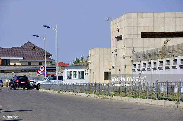Chinese Embassy building is seen after a bombladen vehicle attack to Chinese Embassy in Kyrgyzstan in Bishkek Kyrgyzstan on August 30 2016