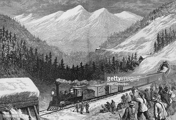 Chinese emigrant workers on the Central Pacific Railroad USA circa 1865