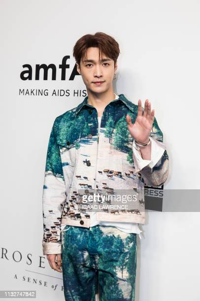 Chinese entertainer Lay Zhang from popular Kpop boy band EXO attends the red carpet for the 2019 American Foundation for AIDS Research gala in Hong...