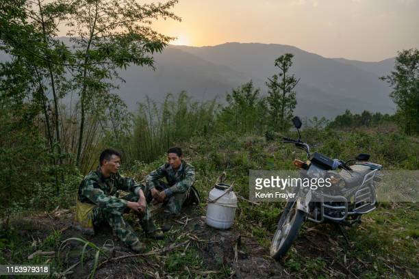 Chinese ethnic Lisu honey hunters Mi Qiaoyun left and Ma Yongde rest next to a container of honey after gathering wild cliff honey from hives in a...
