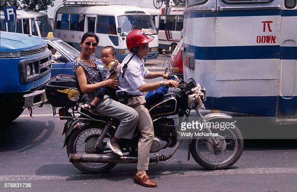 Chinese Family on a Motorcycle