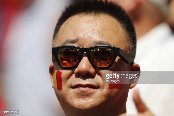 Chinese fan during the 2018 FIFA World Cup Russia group G match between Belgium and Tunisia at the Otkrytiye Arena on June 23 2018 in Moscow Russia