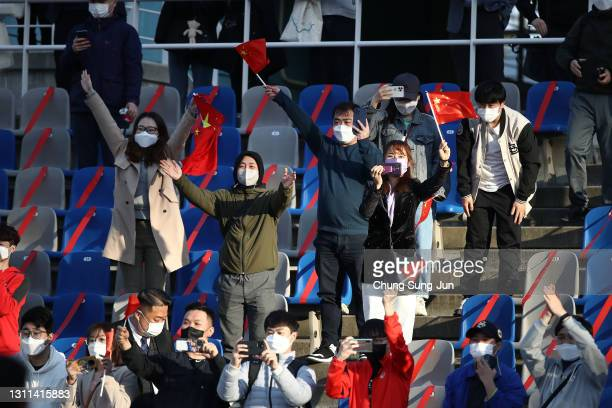 Chinese fans celebrates after the Tokyo Olympics Women's Football Asian Final Qualifier 1st leg match between South Korea and China at the Goyang...