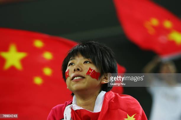 Chinese fans support of the women's national football team at the FIFA Women's World Cup 2007 Group D match against New Zealand at the Tianjin...