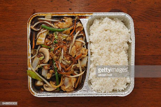 Chinese Fast Food Chop Suey with rice